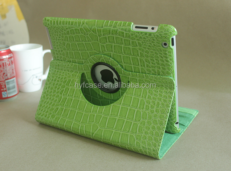 Crocodile grain 360 degree rotating flip leather cover case for ipad2 3 4 case