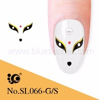 gel sticker nail arts design photo, fox with crown design on nails