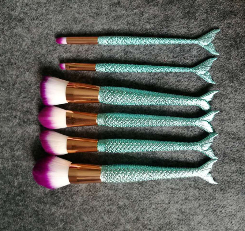 Mermaid makeup brush set high quality 6pcs mermaid makeup brush set