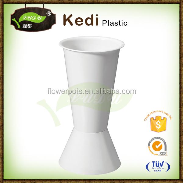 Exquisite large colored plastic flower vases crystal round bling plastic vase