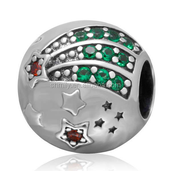 Shining Star Green Red Zircon Micro Pave 925 Sterling Silver Big Hole Round Charm Beads Fit European Bracelet Necklace SZPB220