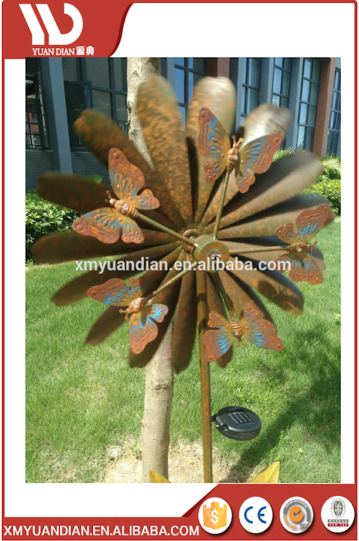 Solar Butterfly Garden Double Wind Spinner For Garden Decoration Solar Led Light Garden Stakes