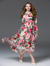 High quality fancy maxi long sleeve flower printed women fall dress