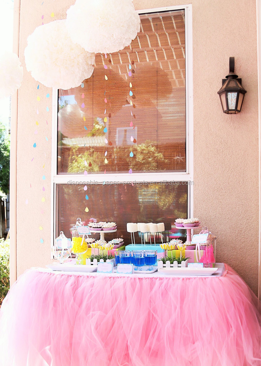 New pink tutu table skirt planning ideas supplies tulle for Baby shower tulle decoration ideas