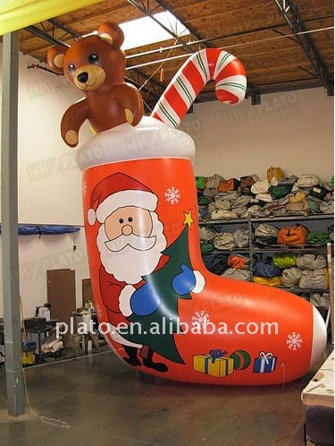 Hot sale!! Gig Inflatable Christmas stocking/ Christmas decoration/large outdoor Christmas ornament/