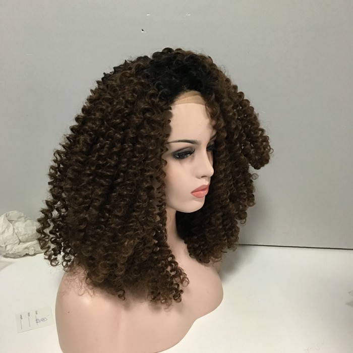 Wholesale cheap afro kinky curl heat resistant synthetic lace front wig