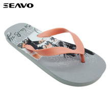 SEAVO SS18 cheap wholesale custom printed mens gray beautiful nude beach personalized pe flip flops