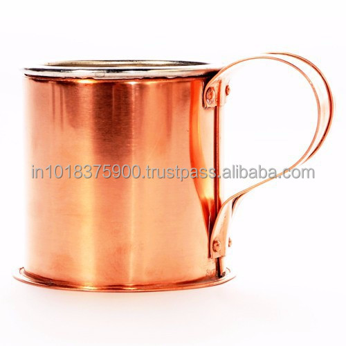16 fl oz Copper Mug for Moscow Mule with Hammered & Lacquer Finishing in Seven Shape Brass Handle