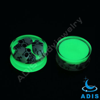 uv green acrylic ear plugs piercing with three skulls oil cover