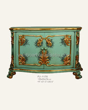 1170 antique finished handmade green colour with golden flower wooden carved cabinet / wood furniture
