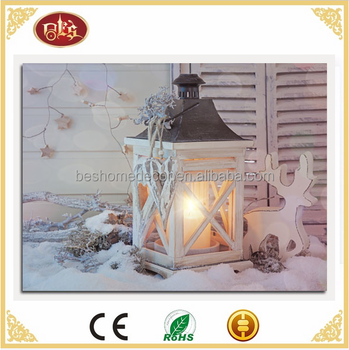 Lantern Christmas pictures wall art canvas painting LED flickering canvas