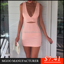 Brand Quality Fast Selling Wholesale Sexy Bodycon Dress Pink Shealth Mini Dress Fashion Deep V Prom Dresses Stock Z489