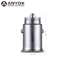 Anyok new product metal mini dual usb car charger output 5V 4.8A fast car charger
