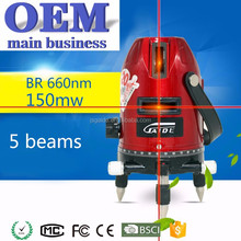5 red beam cross rotary line laser levels with tripod cheap prices OEM