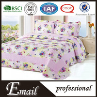 Purple flower print cotton woven quilted plain bedspread/bedspreads