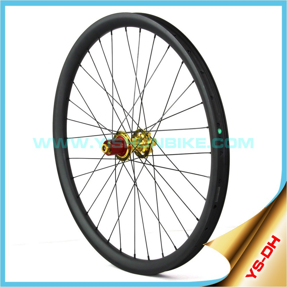 cheap carbon wheels set 33mm width carbon fiber mountain bike wheels clincher tubeless down hill racing hookless DH26-33C