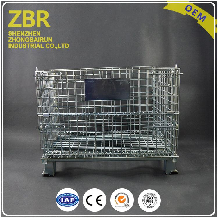 ISO9001 Stacking Wire Basket Folding Stackable Bulk Collapsible Metal Containers with Pallet
