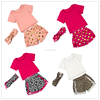 baby girl boutique clothing sets gold polk dots outfits t-shirt+shorts suit