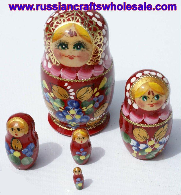 Aparador Suspenso Mercado Livre ~ Matrioshka Bonecas Russas De Madeira vermelha com