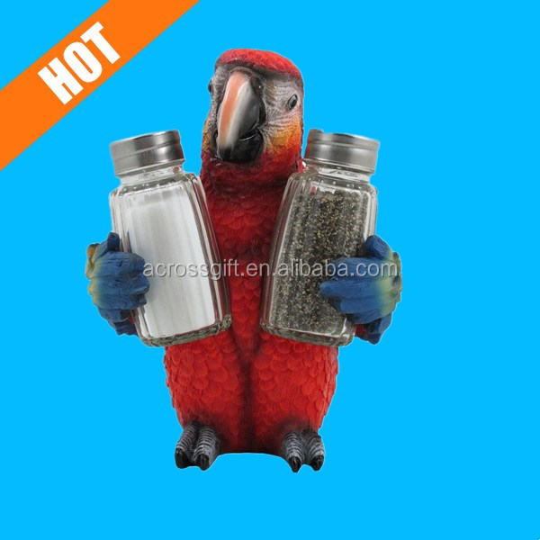 Tropical Parrot Glass Salt and Pepper Shaker Set with Holder Figurine