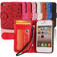 Fake Ostrich cell card holder leather case for phone case for Iphone 4 4GS