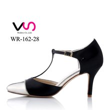 New Metallic PU and satin material point toe with fashion Party Evening bridal shoes WR-162-28 wedding shoes cheap made in china