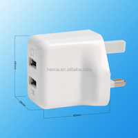 CE Rohs UL approval Dual USB UK Plug Wall Charger 5v 2a USB Power charger Adapter