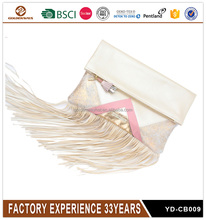 Customized ladies shiny glitter clutch bag with tassels