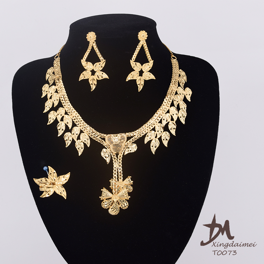 Xingdaimei Dubai popular fashion, 24K Gold women jewelry set wholesale T0073