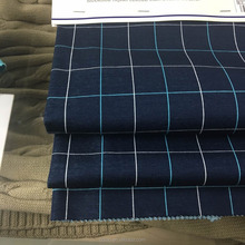 Dark navy blue color mercerized cotton check parttern fabric