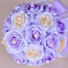 Handmade 10.23 inches Height Purple Satin Artificial Flower Holding Bridal Wedding Bouquets