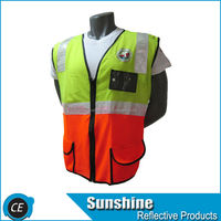 reflex mesh reflective yellow security safety vest pocket