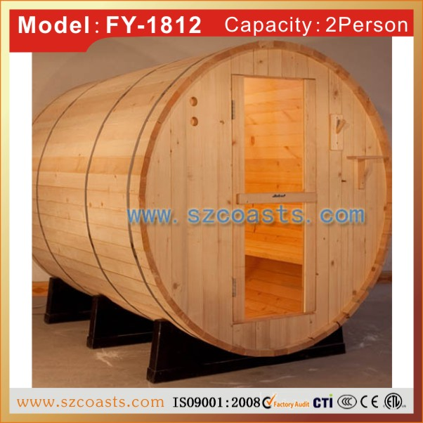 Smallest size red cedar barrel outdoor sauna steam room for 2 person