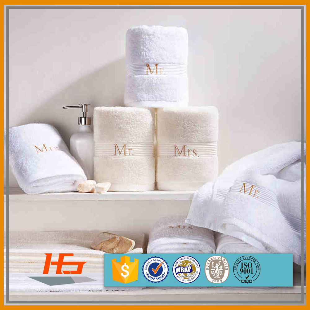 High Quality Mr Mrs Embroidery Logo Pure Cotton White Towels Set