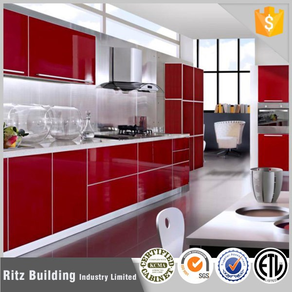 Red color MDF wooden lacquer prefab kitchen cabinet