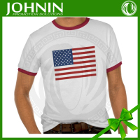 Wholesale mens round neck custom screen printed clothing t-shirt with the american flag