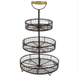 Antique Style Metal Wire 3 Tier Fruit Basket Stand