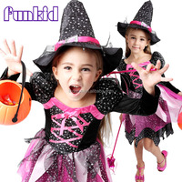 2015 new wholesale kids halloween star cat witch costume with velour satin fabric