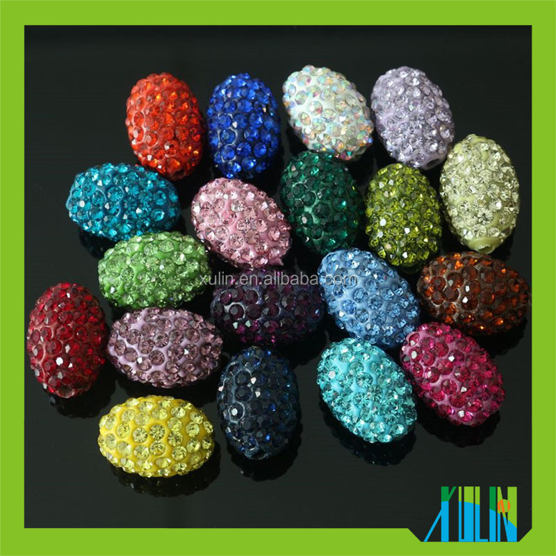 Crystal Clay Loose Oval Beads glass olive pave beads 200pcs/bag