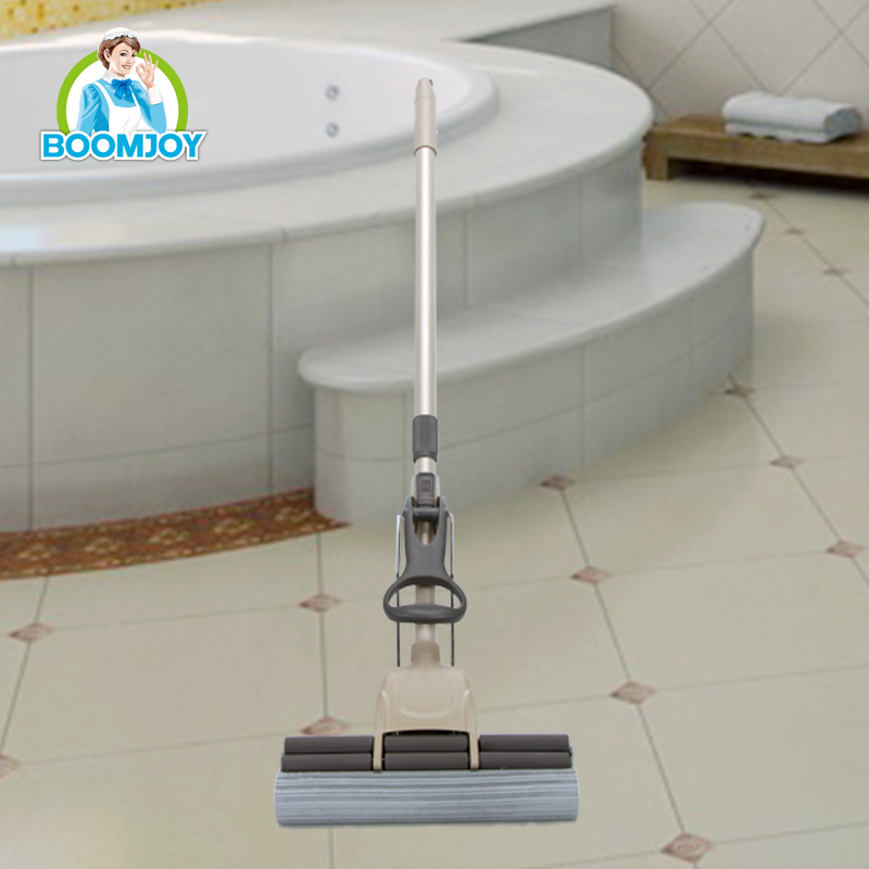 Low price squeeze magic floor cleaning telescopic sponge PVA mop with double squeeze wheels (27cm)