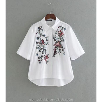 monroo 2017 New Fashion Women Vintage Flower Embroidery Short Sleeve Blouses Shirts lady brand loose Feminine BlusasTops SB1062