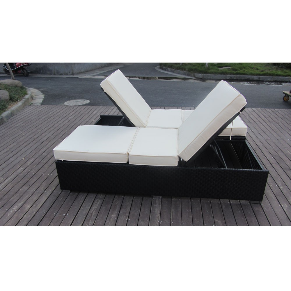 Double person outdoor furniture rattan chaise lounge sofa bed buy outdoor furniture chaise - Outdoor double chaise lounge chairs ...