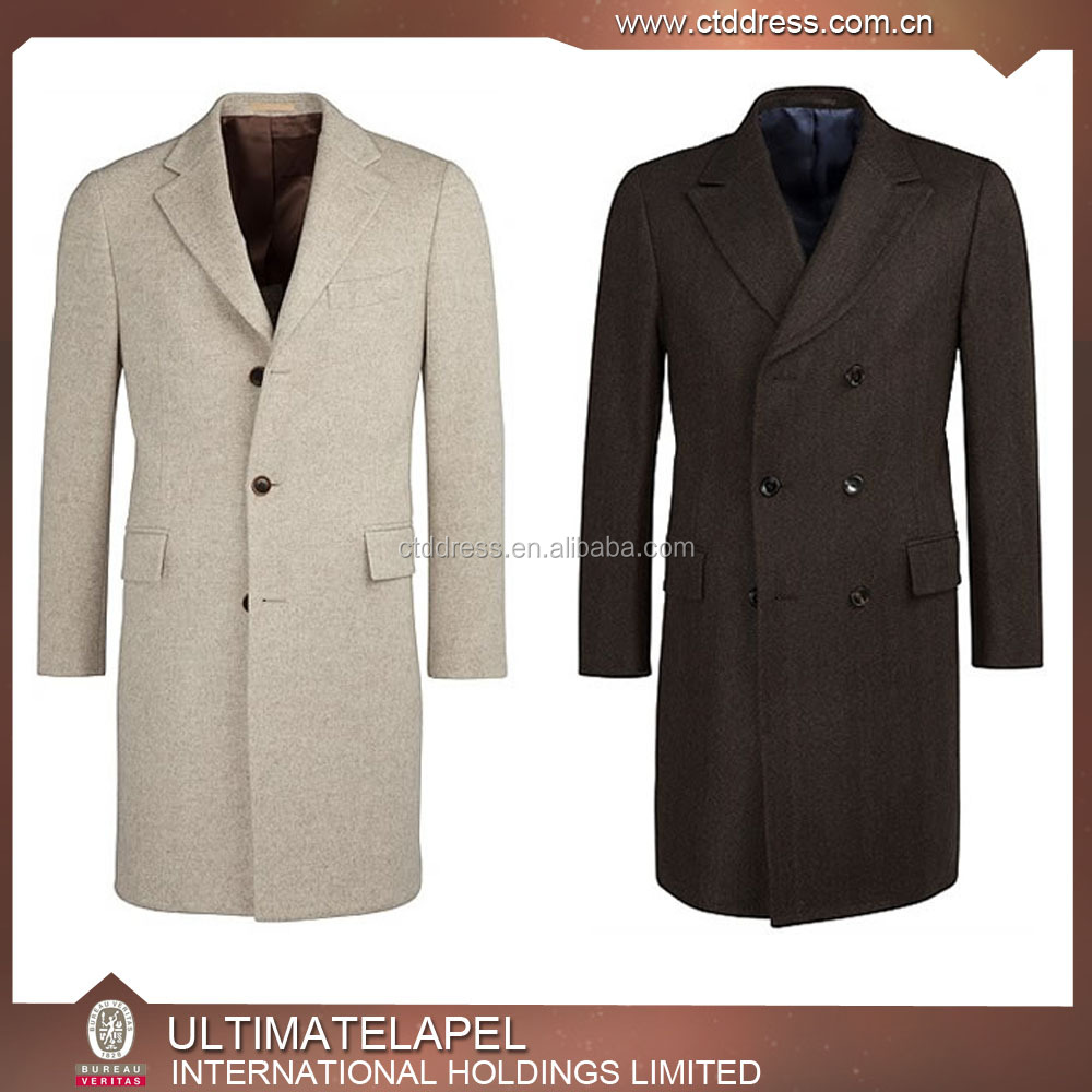 2016 fashion style bespoke white cashmere overcoat for men