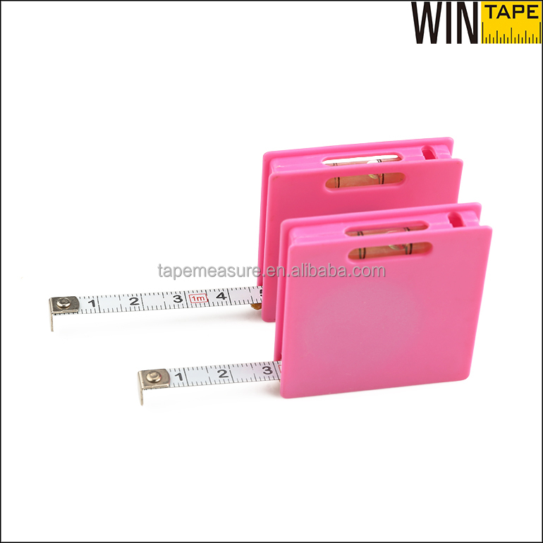 Branded Your Logo 1m 3FT Pink ABS Case Steel Standard Tape Measure With Level