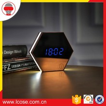 Mirror Glass Alarm Clock Snooze Blue LED Light Thermometer Digital Wall Clock