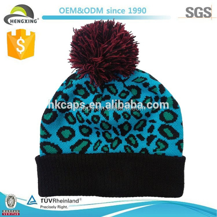 Fast Lead Time!! winter cheetah print knit cap leopard beanie hat with pom