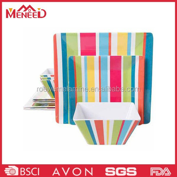 Hot sale melamine modern decal melamine square dinner set with SGS certification