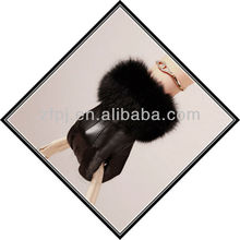 fashion leather fox fur glove