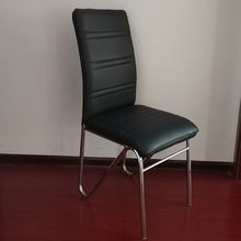 wholesale black pu leather round chrome tube dining chair