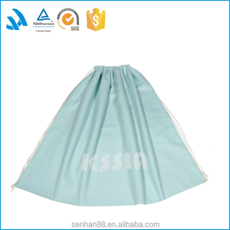 Resuable light blue cotton big dust bag, protective tote drawstring